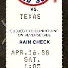 TEXAS RANGERS @ BOSTON RED SOX 1988 FENWAY PARK TICKET STUB LARRY PARRISH HR PAUL KILGUS 3 HITTER
