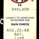 OAKLAND ATHLETICS @ BOSTON RED SOX 1988 TICKET STUB WADE BOGGS 3 HITS RON HASSEY CARNEY LANSFORD HR