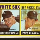 CHICAGO WHITE SOX ROOKIE STARS DUANE JOSEPHSON FRED KLAGES 1967 TOPPS # 373 VG