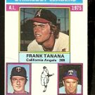 STRIKEOUT LDRS CALIFORNIA ANGELS TANANA TWINS BLYLEVEN TEXAS RANGERS PERRY 1976 TOPPS # 204 VG