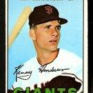 SAN FRANCISCO GIANTS KEN HENDERSON 1967 TOPPS # 383 VG+/EX