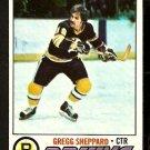 BOSTON BRUINS GREGG SHEPPARD 1977 TOPPS # 95 NR MT
