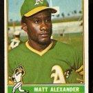 OAKLAND ATHLETICS MATT ALEXANDER 1976 TOPPS # 382 EX