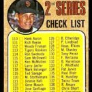 SAN FRANCISCO GIANTS JUAN MARICHAL 2ND SERIES CL UNMARKED 1968 TOPPS # 107 F/G