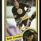 BOSTON BRUINS KEITH CROWDER 1984 TOPPS # 2 NR MT SHORT PRINT