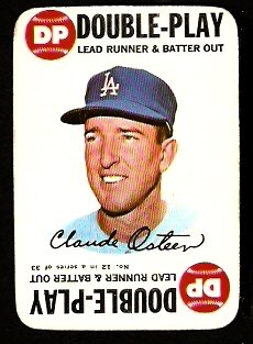 LOS ANGELES DODGERS CLAUDE OSTEEN 1968 TOPPS GAME CARD # 12 VG