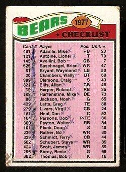 CHICAGO BEARS TEAM CHECKLIST 1977 TOPPS # 204 marked