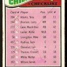 KANSAS CITY CHIEFS TEAM CHECKLIST 1977 TOPPS # 212 marked