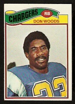 SAN DIEGO CHARGERS DON WOODS 1977 TOPPS # 248 EX