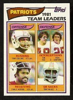 NEW ENGLAND PATRIOTS TEAM LEADERS 1982 TOPPS # 141