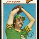 OAKLAND ATHLETICS JIM TODD 1977 TOPPS # 31 VG
