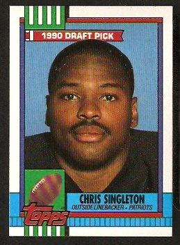 New England Patriots Chris Singleton Rc Rookie Card 1990