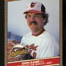 BALTIMORE ORIOLES DON AASE 1986 DONRUSS HIGHLIGHTS # 12