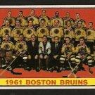BOSTON BRUINS TEAM CARD 1961 TOPPS # 20 EM/NM