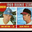 LOS ANGELES DODGERS ROOKIE STARS TOM HUTTON ALAN FOSTER 1969 TOPPS # 266 EM/NM