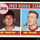 MONTREAL EXPOS ROOKIE STARS JERRY ROBERTSON MIKE WEGENER 1969 TOPPS # 284 EM