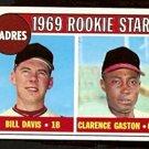 SAN DIEGO PADRES ROOKIE STARS CLARENCE GASTON BILL DAVIS 1969 TOPPS # 304 VG+/EX