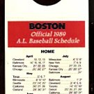 1989 BOSTON RED SOX ALMADEN WINE POCKET SCHEDULE