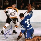 BOSTON BRUINS JOHN BUCYK vs MAPLE LEAFS BRUCE GAMBLE AUTOGRAPHED PHOTO WITH COA