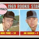 KANSAS CITY ROYALS ROOKIE STARS MIKE FIORE JIM ROOKER 1969 TOPPS # 376 VG/EX
