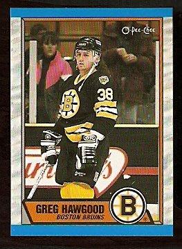 BOSTON BRUINS GREG HAWGOOD ROOKIE CARD RC 1989 OPC O PEE CHEE # 81