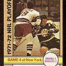 BOSTON BRUINS ED WESTFALL NEW YORK RANGERS WALT TKACZUK STANLEY CUP GAME 4 1972 OPC # 38 NR MT