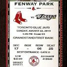 TORONTO BLUE JAYS @ BOSTON RED SOX 2010 TICKET JOSH BECKETT