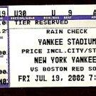 BOSTON RED SOX @ NEW YORK YANKEES 2002 TICKET STUB