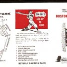 BOSTON RED SOX 1983 POCKET SCHEDULE BEVERLY MA SAVINGS BANK