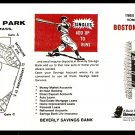 BOSTON RED SOX 1984 POCKET SCHEDULE BEVERLY MA SAVINGS BANK
