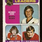 ASSIST LEADERS BOSTON BRUINS BOBBY ORR BOBBY CLARKE PETE MAHOVLICH 1975 OPC # 209 NR MT