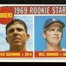 LOS ANGELES DODGERS ROOKIE STARS TED SIZEMORE BILL SUDAKIS 1969 TOPPS # 552 EX+/EM