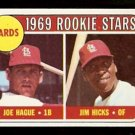 ST LOUIS CARDINALS ROOKIE STARS JOE HAGUE JIM HICKS 1969 TOPPS # 559 NR MT