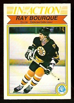 BOSTON BRUINS RAY BOURQUE IN ACTION 1982 OPC # 24 O PEE CHEE