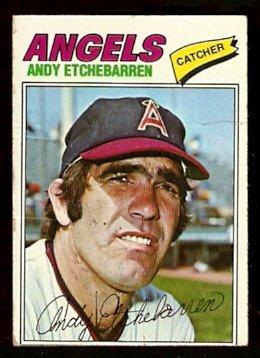CALIFORNIA ANGELS ANDY ETCHEBARREN 1977 TOPPS # 454 G/VG