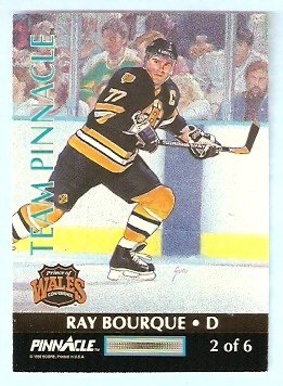 BOSTON BRUINS RAY BOURQUE CHICAGO BLACK HAWKS CHRIS CHELIOS 1992 TEAM PINNACLE INSERT #2 of 6