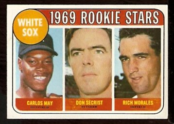 CHICAGO WHITE SOX ROOKIE STARS CARLOS MAY DON SECRIST RICH MORALES 1969 TOPPS # 654 EX