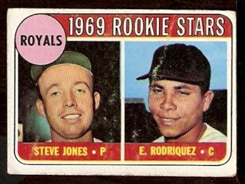 KANSAS CITY ROYALS ROOKIE STARS RODRIQUEZ JONES 1969 TOPPS # 49A good