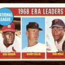 N.L. ERA LDRS CARDINALS BOB GIBSON GIANTS BOBBY BOLIN PIRATES BOB VEALE 1969 TOPPS # 8 NR MT