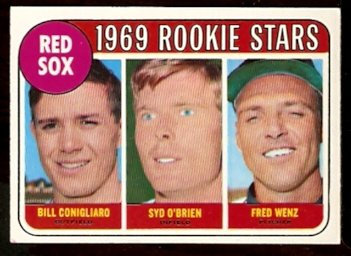 BOSTON RED SOX ROOKIE STARS CONIGLIARO O�BRIEN WENZ 1969 TOPPS # 628 EX+/EM