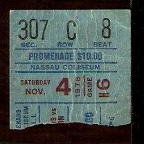 WASHINGTON CAPITALS @ NEW YORK ISLANDERS 1978 TICKET STUB POTVIN 2 GOALS