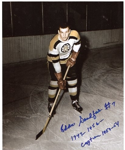 BOSTON BRUINS ED SANDFORD AUTOGRAPHED 8x10 PHOTO WITH COA