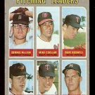 PITCHING LEADERS TIGERS McLAIN ORIOLES CUELLAR McNALLY TWINS PERRY YANKEES 1970 TOPPS # 70 VG