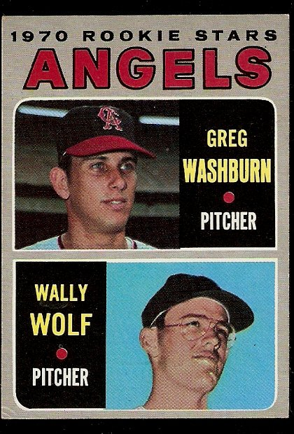 CALIFORNIA ANGELS ROOKIE STARS GREG WASHBURN WALLY WOLF 1970 TOPPS # 74 VG/EX