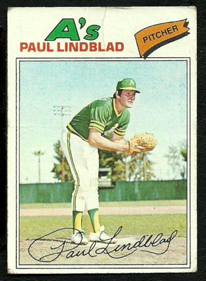 OAKLAND ATHLETICS PAUL LINDBLAD 1977 TOPPS # 583 G/VG