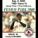 NEW YORK YANKEES  BOSTON RED SOX 2000 FENWAY PARK TICKET STUB ANDY PETTITTE PEDRO MARTINEZ
