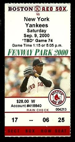 NEW YORK YANKEES  BOSTON RED SOX 2000 FENWAY PARK TICKET STUB ANDY PETTITTE PEDRO MARTINEZ