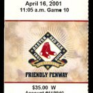 NEW YORK YANKEES BOSTON RED SOX 2001 FENWAY PARK TICKET STUB TINO MARTINEZ HR