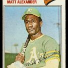 OAKLAND ATHLETICS MATT ALEXANDER 1977 TOPPS # 644 VG