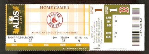 BOSTON RED SOX FENWAY PARK 2011 DIVISION SERIES ALDS FULL TICKET